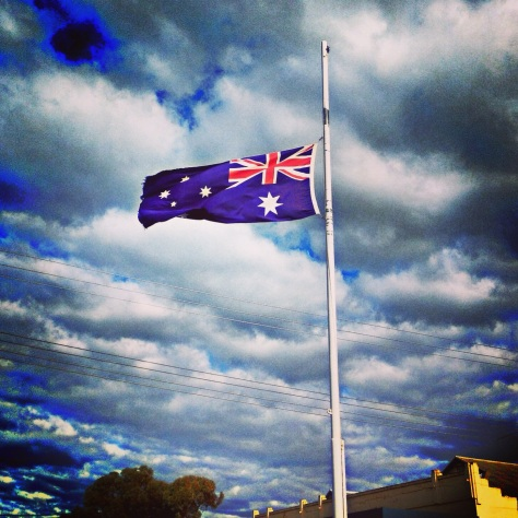 Flag at half mast, for a community mourning a loss so great that there are no words sad enough to describe it.  Roslyn (Bud) Woolford, I will remember you and cherish every memory and share them with your kids someday. xx