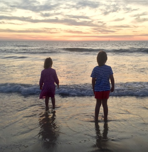 Family holiday, the girls wading at Glenelg, it was a gorgeous night.